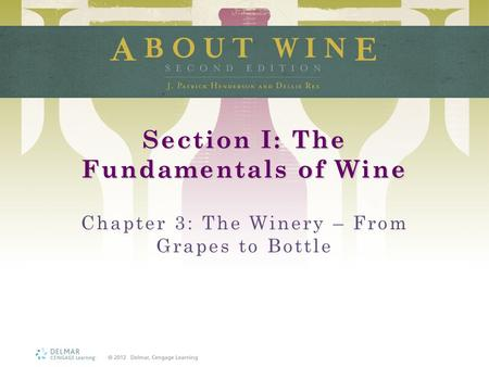 Section I: The Fundamentals of Wine Chapter 3: The Winery – From Grapes to Bottle.