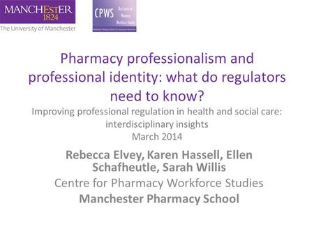 Pharmacy professionalism and professional identity: what do regulators need to know? Improving professional regulation in health and social care: interdisciplinary.