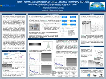 POSTER TEMPLATE BY: www.PosterPresentations.com Image Processing in Spectral Domain Optical Coherence Tomography (SD-OCT) Vasilios Morikis 1,2, Dan DeLahunta.