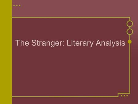 analysis on the stranger