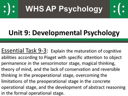 WHS AP Psychology Unit 9: Developmental Psychology Essential Task 9-3: Explain the maturation of cognitive abilities according to Piaget with specific.