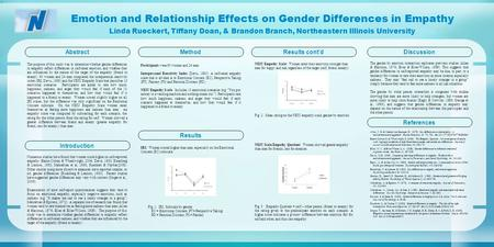 Emotion and Relationship Effects on Gender Differences in Empathy Method Participants were 60 women and 24 men. Interpersonal Reactivity Index (Davis,