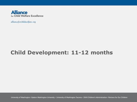 Child Development: 11-12 months. The Power of Partnership The Alliance for Child Welfare Excellence is Washington's first comprehensive statewide training.