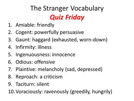 The Stranger Vocabulary Quiz Friday