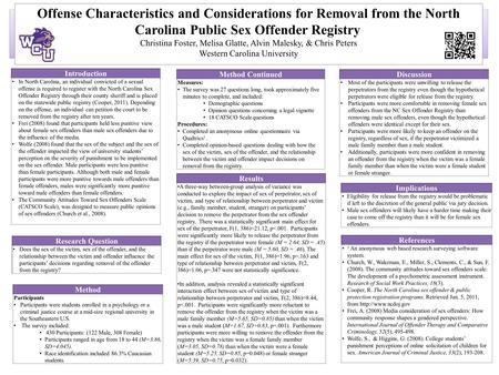 Offense Characteristics and Considerations for Removal from the North Carolina Public Sex Offender Registry Christina Foster, Melisa Glatte, Alvin Malesky,