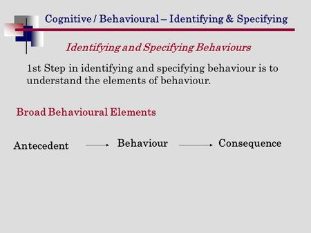 Cognitive / Behavioural – Identifying & Specifying 1st Step in identifying and specifying behaviour is to understand the elements of behaviour. Antecedent.