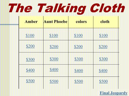 The Talking Cloth AmberAunt Phoebecolorscloth $100 $200 $300 $400 $500 $100 $200 $300 $400 $500 Final Jeopardy.