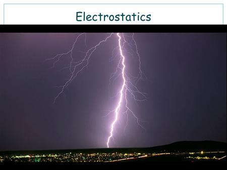 Electrostatics. The branch of science dealing with static charges and their electric fields The Greek word for amber, ήλεκτρον electron, was the source.