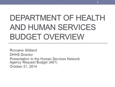 DEPARTMENT OF HEALTH AND HUMAN SERVICES BUDGET OVERVIEW Romaine Gilliland DHHS Director Presentation to the Human Services Network Agency Request Budget.