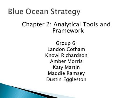 Chapter 2: Analytical Tools and Framework Group 6: Landon Cotham Knowl Richardson Amber Morris Katy Martin Maddie Ramsey Dustin Eggleston.