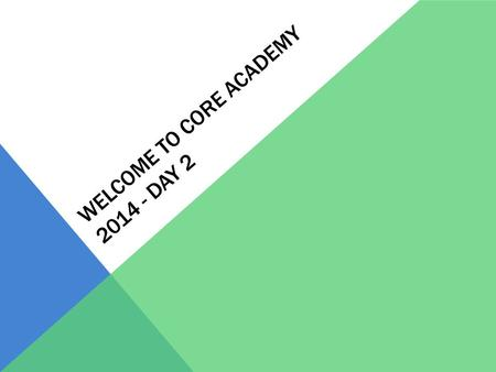 WELCOME TO CORE ACADEMY 2014 - DAY 2. DAY 2 AGENDA Schedule for Day 8:30-8:45: Address Questions from yesterday 8:45 – 10:15: Passion Profiles and Activity.