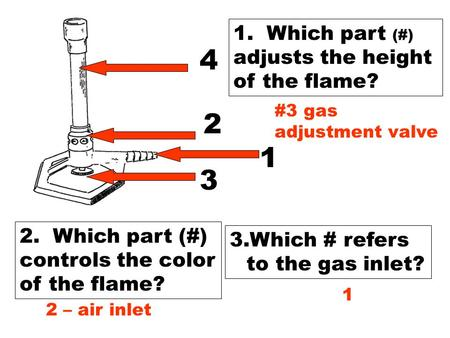 1 2 3 4 1. Which part (#) adjusts the height of the flame? 2. Which part (#) controls the color of the flame? 3.Which # refers to the gas inlet? #3 gas.
