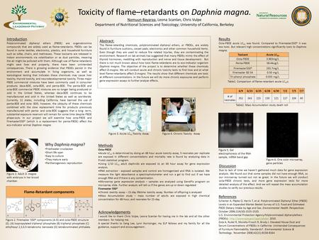 Toxicity of flame–retardants on Daphnia magna. Namuun Bayaraa, Leona Scanlan, Chris Vulpe Department of Nutritional Sciences and Toxicology; University.