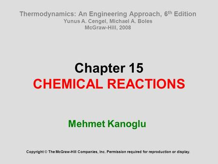 Chapter 15 CHEMICAL REACTIONS