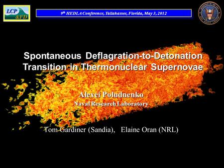 9 th HEDLA Conference, Tallahassee, Florida, May 3, 2012 Spontaneous Deflagration-to-Detonation Transition in Thermonuclear Supernovae Alexei Poludnenko.