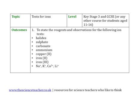 Www.thescienceteacher.co.ukwww.thescienceteacher.co.uk | resources for science teachers who like to think TopicTests for ionsLevelKey Stage 3 and GCSE.