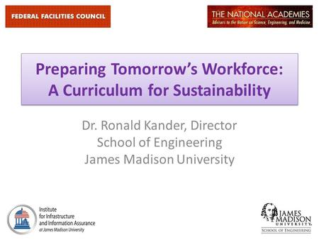 Preparing Tomorrow's Workforce: A Curriculum for Sustainability Dr. Ronald Kander, Director School of Engineering James Madison University.
