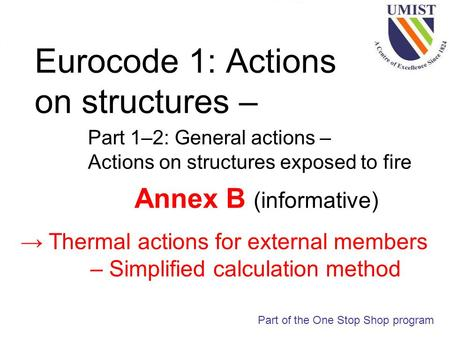 Eurocode 1: Actions on structures – Part 1–2: General actions – Actions on structures exposed to fire Part of the One Stop Shop program Annex B (informative)
