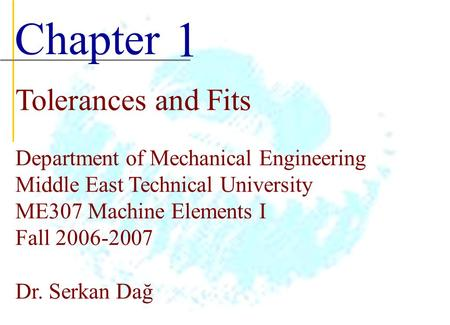 1 Chapter Tolerances and Fits