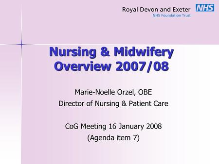 Nursing & Midwifery Overview 2007/08 Marie-Noelle Orzel, OBE Director of Nursing & Patient Care CoG Meeting 16 January 2008 (Agenda item 7)