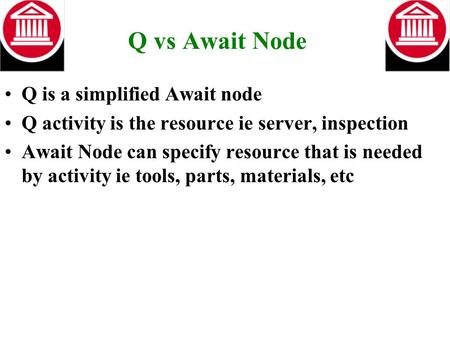 Q vs Await Node Q is a simplified Await node Q activity is the resource ie server, inspection Await Node can specify resource that is needed by activity.