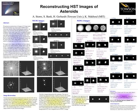 Reconstructing HST Images of Asteroids A. Storrs, S. Bank, H. Gerhardt (Towson Univ.), K. Makhoul (MIT) Acknowledgements: Support for this work provided.
