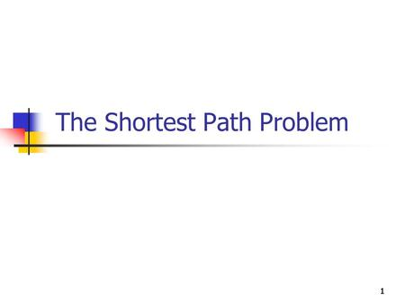 "111111 The Shortest Path Problem. Shortest-Path Algorithms Find the ""shortest"" path from point A to point B ""Shortest"" in time, distance, cost, … Numerous."