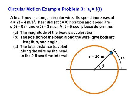 Circular Motion Example Problem 3: a t = f(t) A bead moves along a circular wire. Its speed increases at a = 2t – 4 m/s 2. Its initial (at t = 0) position.