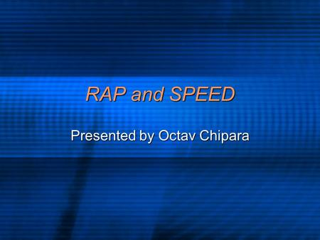 RAP and SPEED Presented by Octav Chipara. Realtime Systems Concerned with two aspects Concerned with two aspects Control Control RAP RAP Predictability.