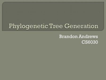 Brandon Andrews CS6030.  What is a phylogenetic tree?  Goals in a phylogenetic tree generator  Distance based method  Fitch-Margoliash Method Example.