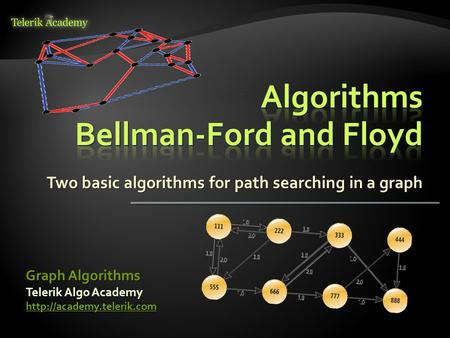 Two basic algorithms for path searching in a graph Telerik Algo Academy  Graph Algorithms.