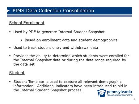 1 School Enrollment  Used by PDE to generate Internal Student Snapshot  Based on enrollment data and student demographics  Used to track student entry.