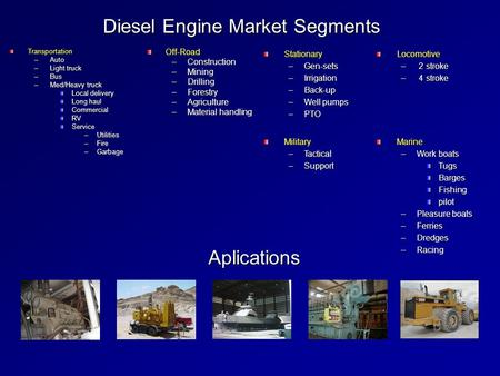 Diesel Engine Market Segments Transportation –Auto –Light truck –Bus –Med/Heavy truck Local delivery Long haul CommercialRVService –Utilities –Fire –Garbage.