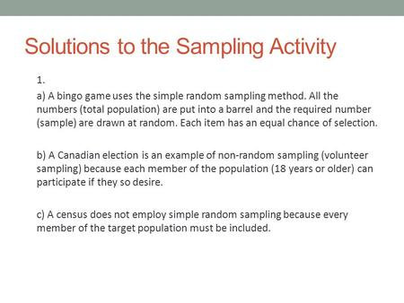 Solutions to the Sampling Activity