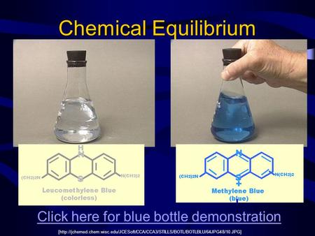 Chemical Equilibrium Click here for blue bottle demonstration