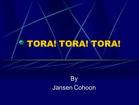 TORA! TORA! TORA! By Jansen Cohoon. Developing TORA TORA was funded by the Army Research Laboratory. TORA is presently being transitioned into the commercial.