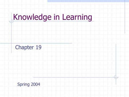 Knowledge in Learning Copyright, 1996 © Dale Carnegie & Associates, Inc. Chapter 19 Spring 2004.