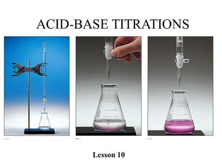 ACID-BASE TITRATIONS Lesson 10. Acid-Base Titrations… PART I: what is a titration? how is it performed? what tools are needed? PART II: Perform Titration.