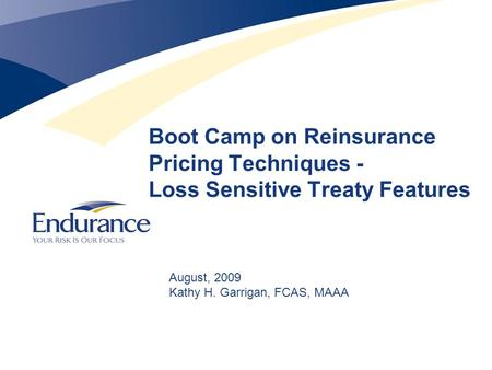 Boot Camp on Reinsurance Pricing Techniques - Loss Sensitive Treaty Features August, 2009 Kathy H. Garrigan, FCAS, MAAA.