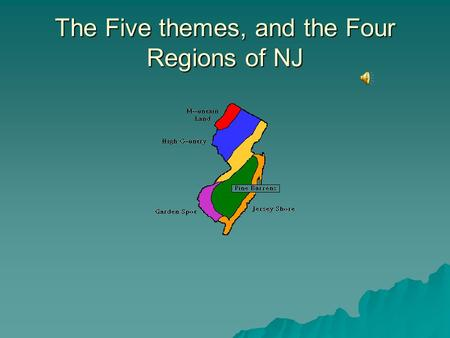 The Five themes, and the Four Regions of NJ