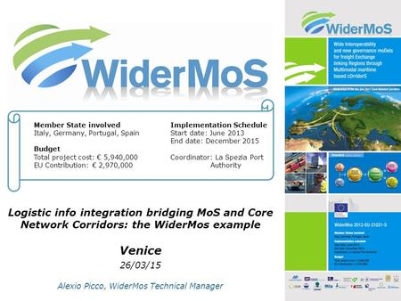 Logistic info integration bridging MoS and Core Network Corridors: the WiderMos example Venice 26/03/15 Alexio Picco, WiderMos Technical Manager Member.