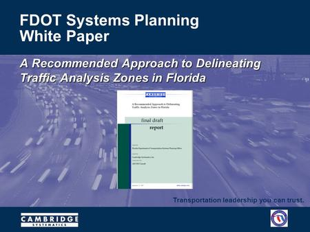 Transportation leadership you can trust. FDOT Systems Planning White Paper A Recommended Approach to Delineating Traffic Analysis Zones in Florida.