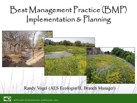 Best Management Practice (BMP) Implementation & Planning Randy Vogel (AES Ecologist/IL Branch Manager)