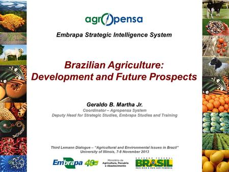 "Third Lemann Dialogue – ""Agricultural and Environmental Issues in Brazil"" University of Illinois, 7-8 November 2013 Embrapa Strategic Intelligence System."