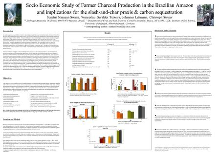 Socio Economic Study of Farmer Charcoal Production in the Brazilian Amazon and implications for the slash-and-char praxis & carbon sequestration Sundari.