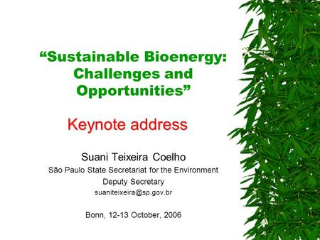 """Sustainable Bioenergy: Challenges and Opportunities"" Suani Teixeira Coelho São Paulo State Secretariat for the Environment Deputy Secretary"