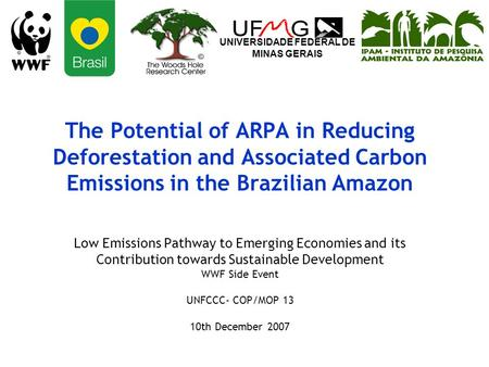 The Potential of ARPA in Reducing Deforestation and Associated Carbon Emissions in the Brazilian Amazon Low Emissions Pathway to Emerging Economies and.
