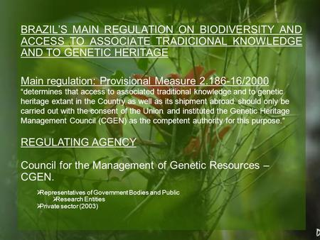 BRAZIL'S MAIN REGULATION ON BIODIVERSITY AND ACCESS TO ASSOCIATE TRADICIONAL KNOWLEDGE AND TO GENETIC HERITAGE Main regulation: Provisional Measure 2.186-16/2000.