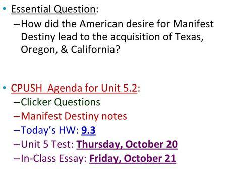 essay questions manifest destiny