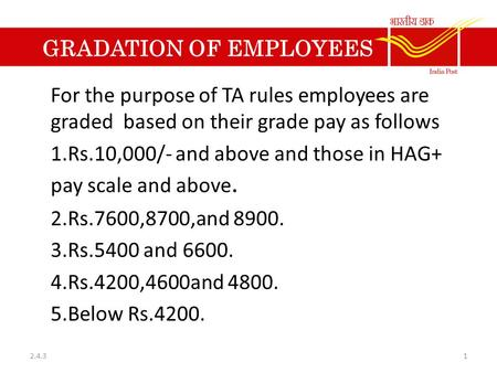 GRADATION OF EMPLOYEES For the purpose of TA rules employees are graded based on their grade pay as follows 1.Rs.10,000/- and above and those in HAG+ pay.
